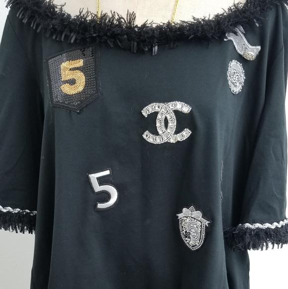 37529fef3e5665 chanel Tops | Black Embellished Cotton Tshirt 40 | Poshmark